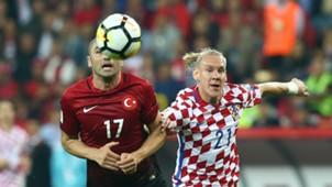 Burak Yilmaz Domagoj Vida Turkey Croatia WCQ 09052017