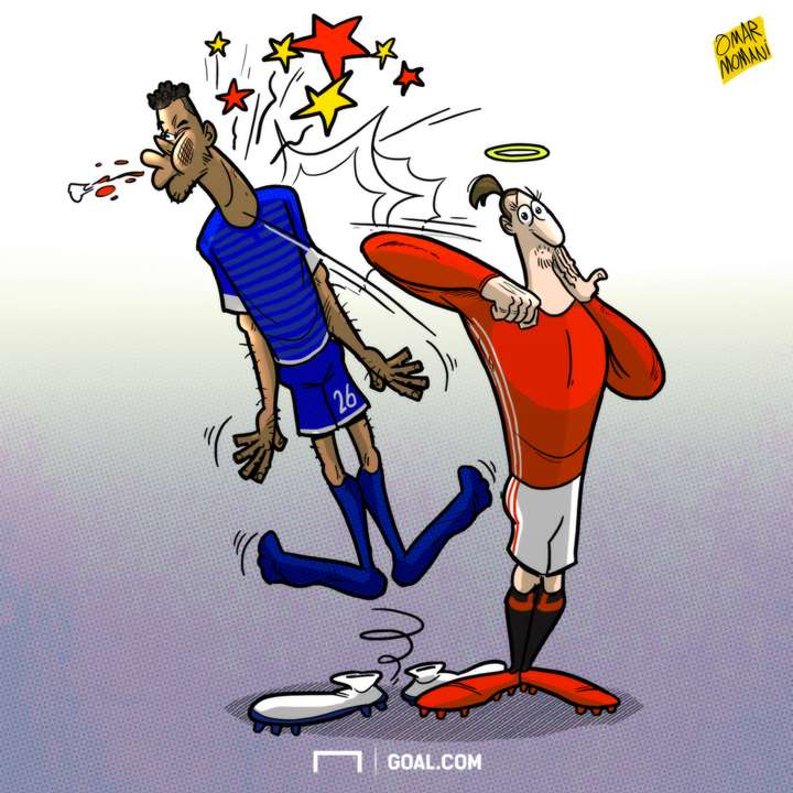 Cartoon - March 5 - Ibrahimovic elbowing Mings
