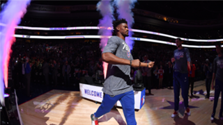 Jimmy Butler is introduced for the first time in Philadelphia as a 76er