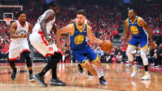 Klay Thompson drives to the basket during Game 2 of the NBA Finals.
