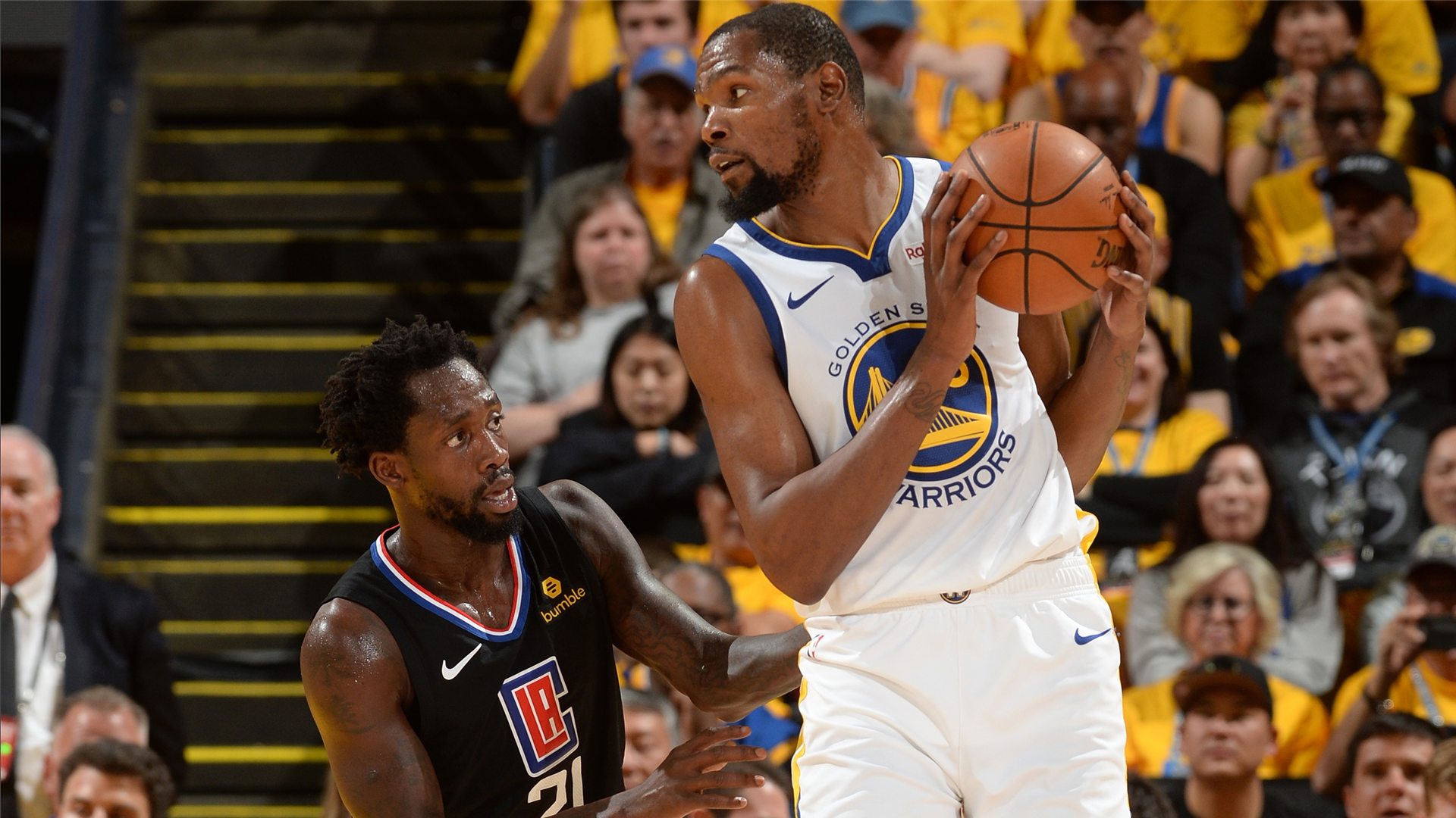 0c81c652e50 NBA Playoffs 2019  Kevin Durant and Patrick Beverley get ejected in Warriors   Game 1 win