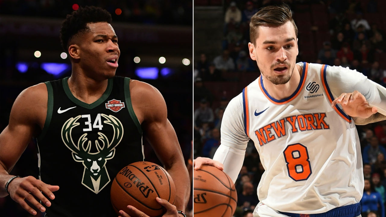Mario Hezonja steps over Giannis after slam