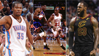 Kevin Durant, Patrick Ewing, Michael Jordan, and LeBron James