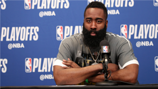James Harden at the postgame press conference