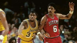 Magic Johnson and Julius Erving