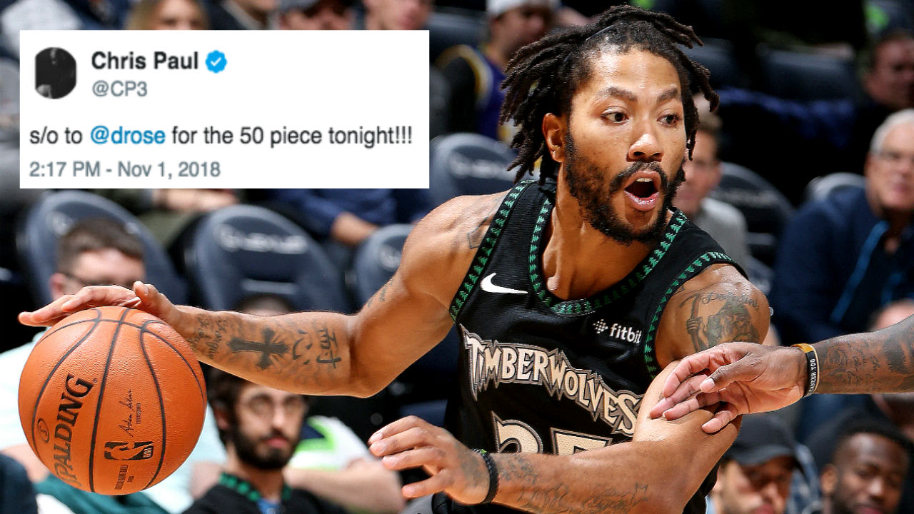 the best attitude 414c0 44d33 NBA players take to Twitter in awe of Derrick Rose's career ...