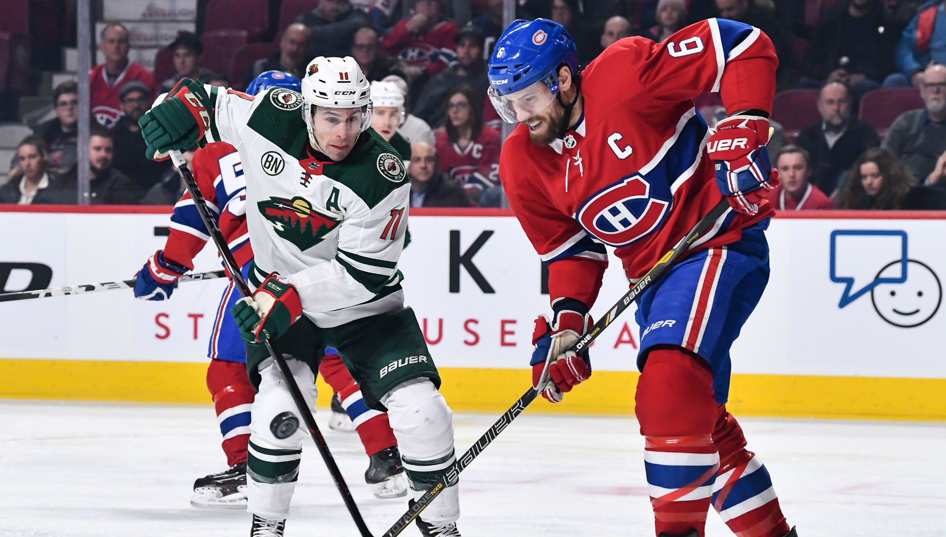 6a8f8f19cd3 Canadiens captain Shea Weber leaves game after taking puck to face ...