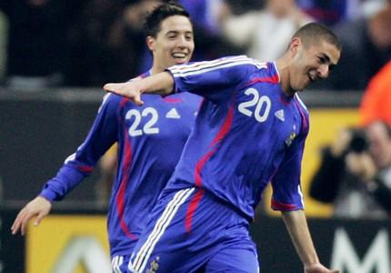 Karim Benzema Samir Nasri France Austria debut goal friendly 2007