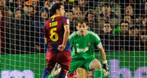 Xavi Hernandez ker Casillas during the Spanish league 'clasico' football match FC Barcelona Real Madrid