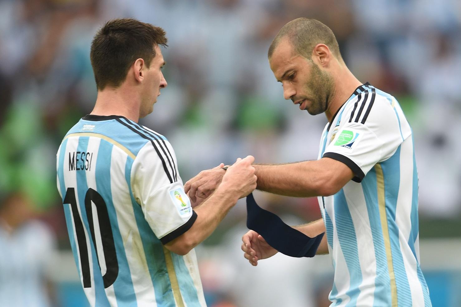 Lionel Messi Javier Mascherano Argentina Nigeria 2014 FIFA World Cup