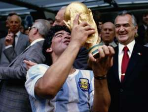 Diego Maradona Argentina West Gemany 1986 FIFA World Cup trophy