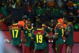 Cameroon's players celebrate after scoring a goal during the 2017 Africa Cup of Nations