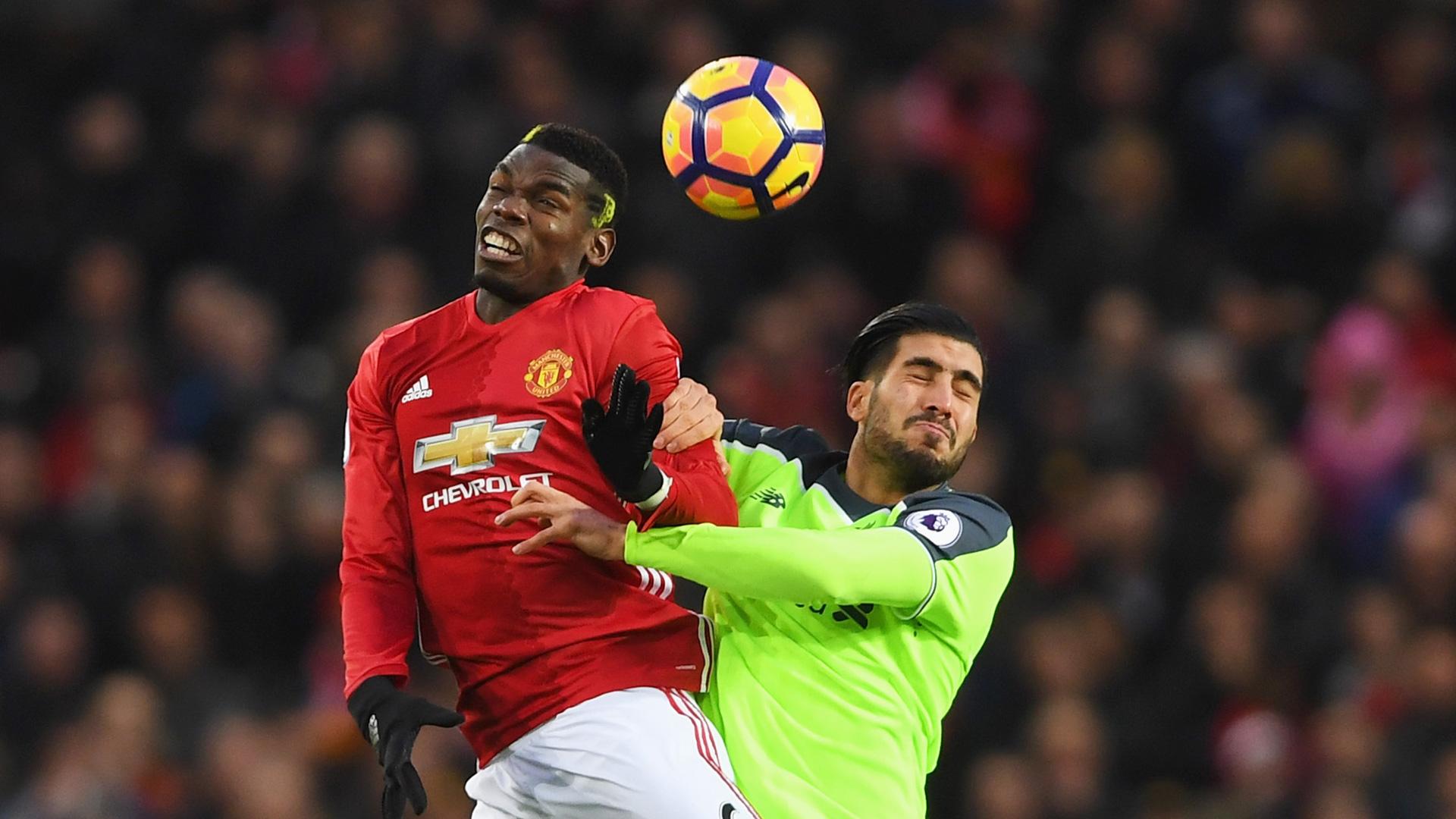 Paul Pogba Emre Can Manchester United Liverpool Premier League 15012017