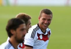 Lukas Podolski, Sami Khedira, Germany training 061414