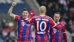Robert Lewandowski Arjen Robben Franck Ribery Bayern München 27022015
