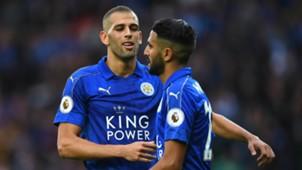 Islam Slimani Riyad Mahrez Leicester City Premier League