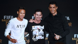 Ballon d'Or Neymar Lionel Messi Cristiano Ronaldo 11012016