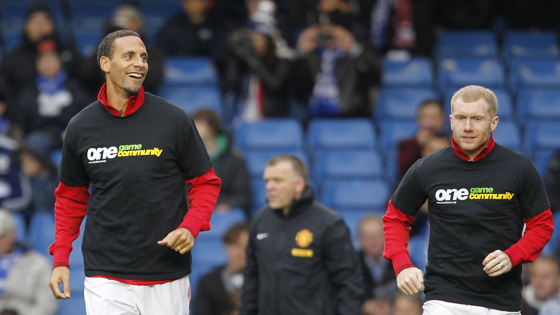 Rio Ferdinand Paul Scholes Manchester United 28102012