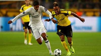 Pierre Emerick Aubameyang Raphael Varane Borussia Dortmund Real Madrid Champions League 27092016