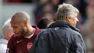 Arsene Wenger Thierry Henry FC Arsenal v Aston Villa Premier League 04012006