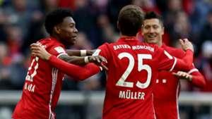 Thomas Müller Robert Lewandowski David Alaba FC Bayern München Hamburger SV Bundesliga 022517