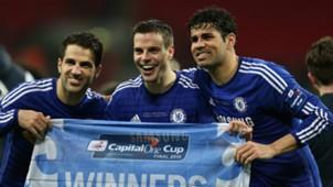 Cesc Fabregas, Cesar Azpilicueta, Diego Costa - Chelsea v Tottenham Hotspur - Capital One Cup Final 03012015