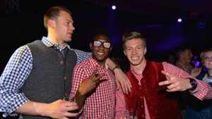 David Alaba Manuel Neuer Mitchell Weise Bayern Celebrations 05102014