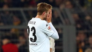 Christoph Kramer of Borussia Monchengladbach after own goal vs Borussia Dortmund, Bundesliga, 091114