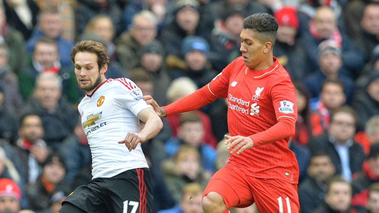 Daley Blind Roberto Firmino Liverpool Manchester United Premier League 17012016
