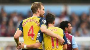 Per Mertesacker Mesut Ozil Arsenal Aston Villa Premier League 09202014
