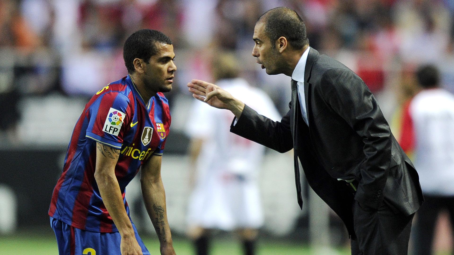 Dani Alves Pep Guardiola FC Barcelona 01182010
