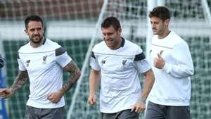 Liverpool FC Training Danny Ings James Milner Adam Lallana