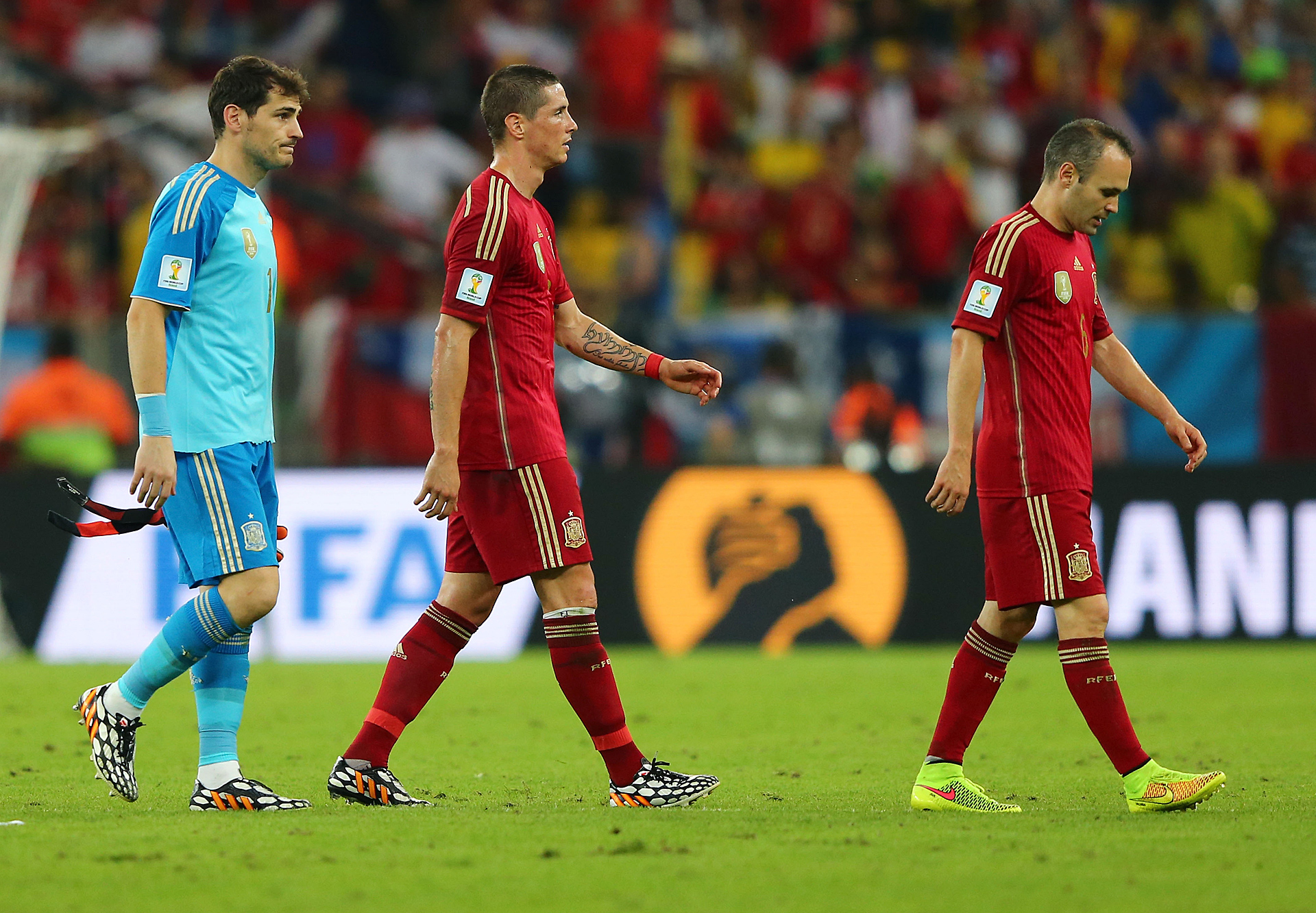 Iker Casillas Fernando Torres Andreas Iniesta Spain Chile 2014 World Cup 06182014