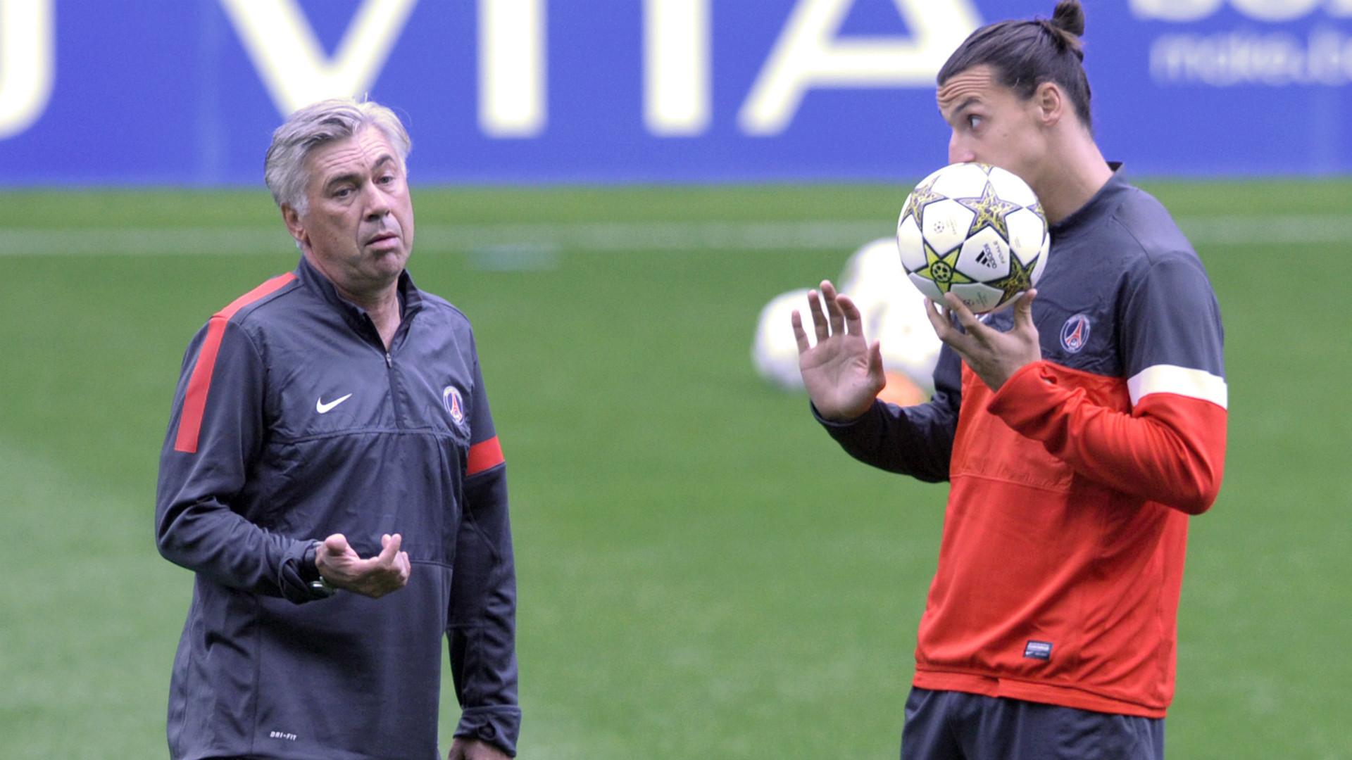 Carlo Ancelotti Zlatan Ibrahimovic Paris Saint Germain