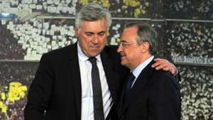Florentino Pérez and Carlo Ancelotti during his official unveiling at Real Madrid