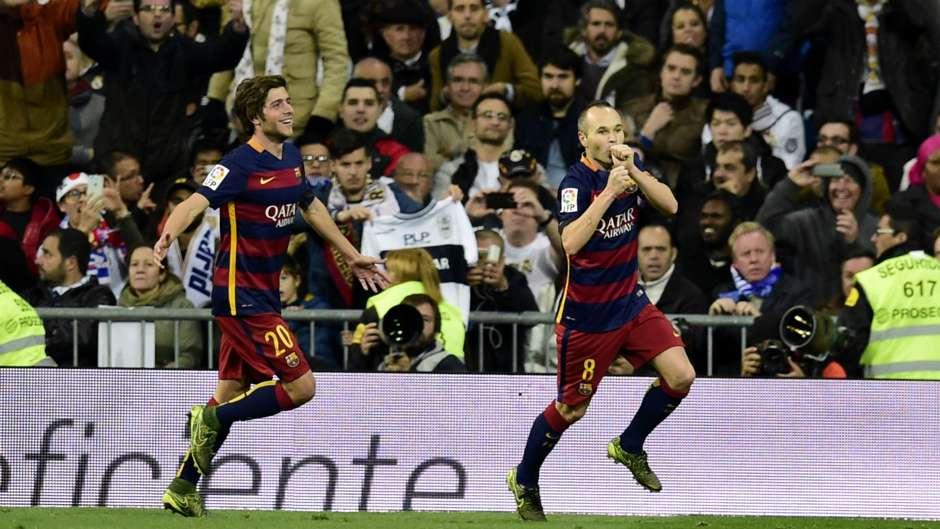 Andres Iniesta Sergi Roberto Real Madrid Barcelona La Liga