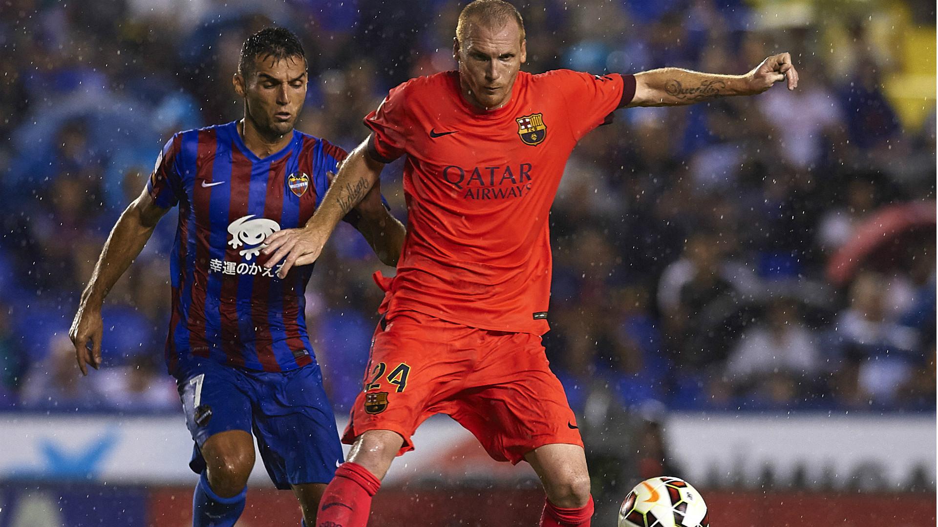 David Barral Jeremy Mathieu Levante Barcelona Liga BBVA 21092014