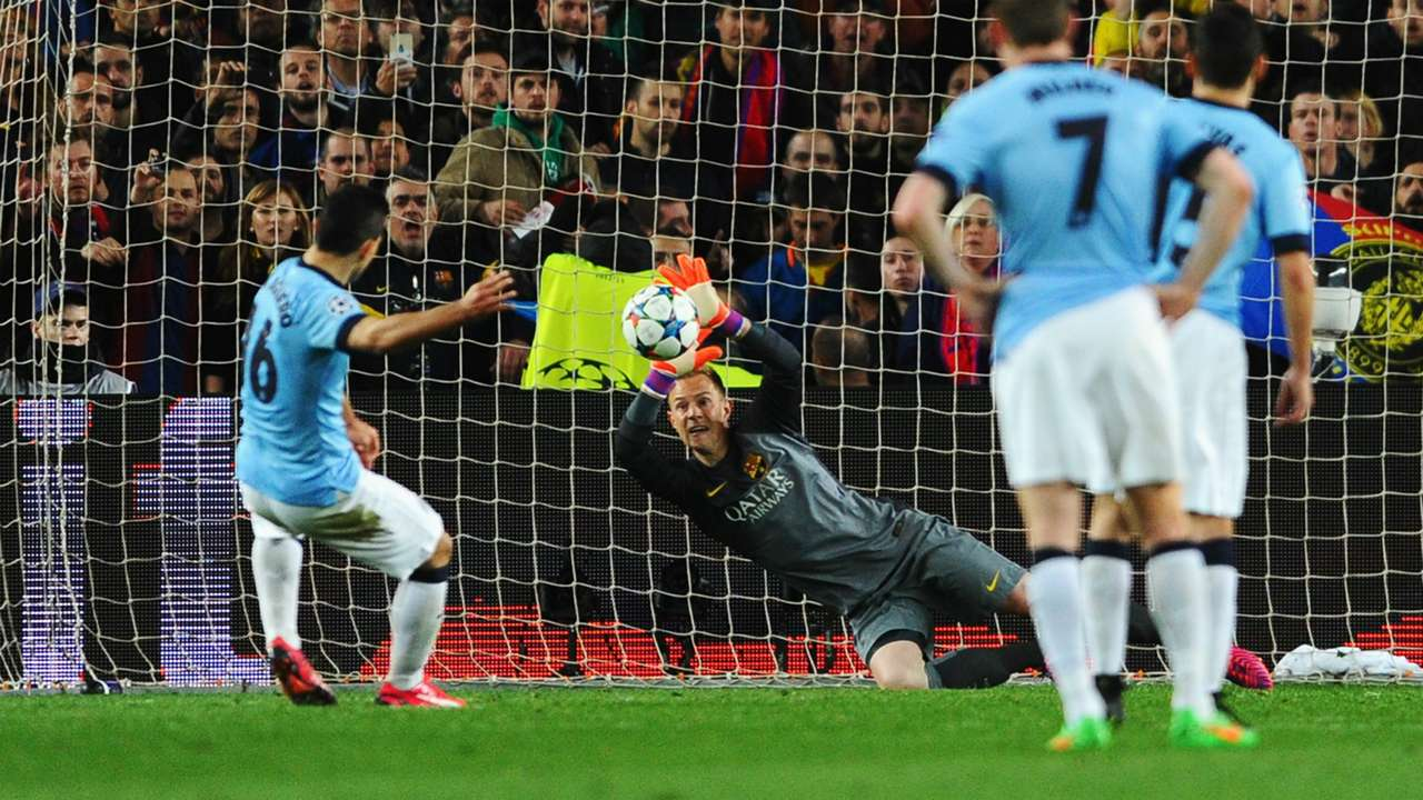 Sergio Aguero Ter Stegen Barcelona Manchester City UEFA Champions League 18032015