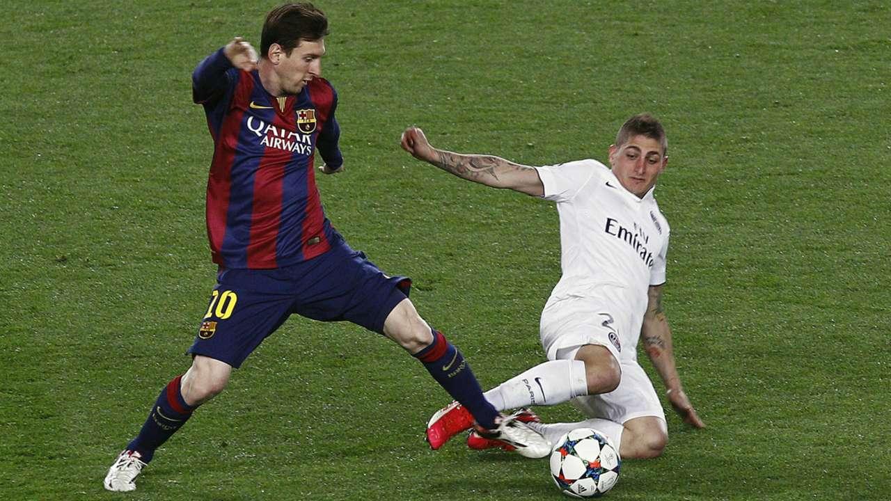 Lionel Messi Marco Verratti Barcelona PSG Champions League 04212015