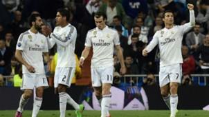 Cristiano Ronaldo Gareth Bale Raphael Varane Alvaro Arbeloa Real Madrid Schalke 04 UEFA Champions League 03102015