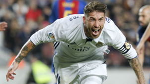 Sergio Ramos celebrates Barcelona Real Madrid La Liga
