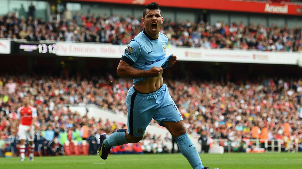 SERGIO AGUERO ARSENAL MANCHESTER CITY PREMIER LEAGUE 09132014