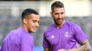 Sergio Ramos Lucas Vazquez Real Madrid training