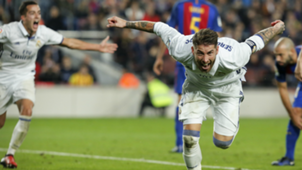Sergio Ramos celebrates Barcelona Real Madrid La Liga