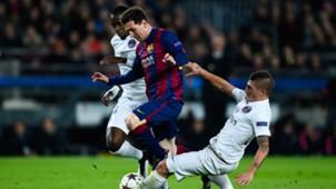 Lionel Messi Blaise Matuidi Marco Verratti Barcelona PSG UEFA Champions League 12102014