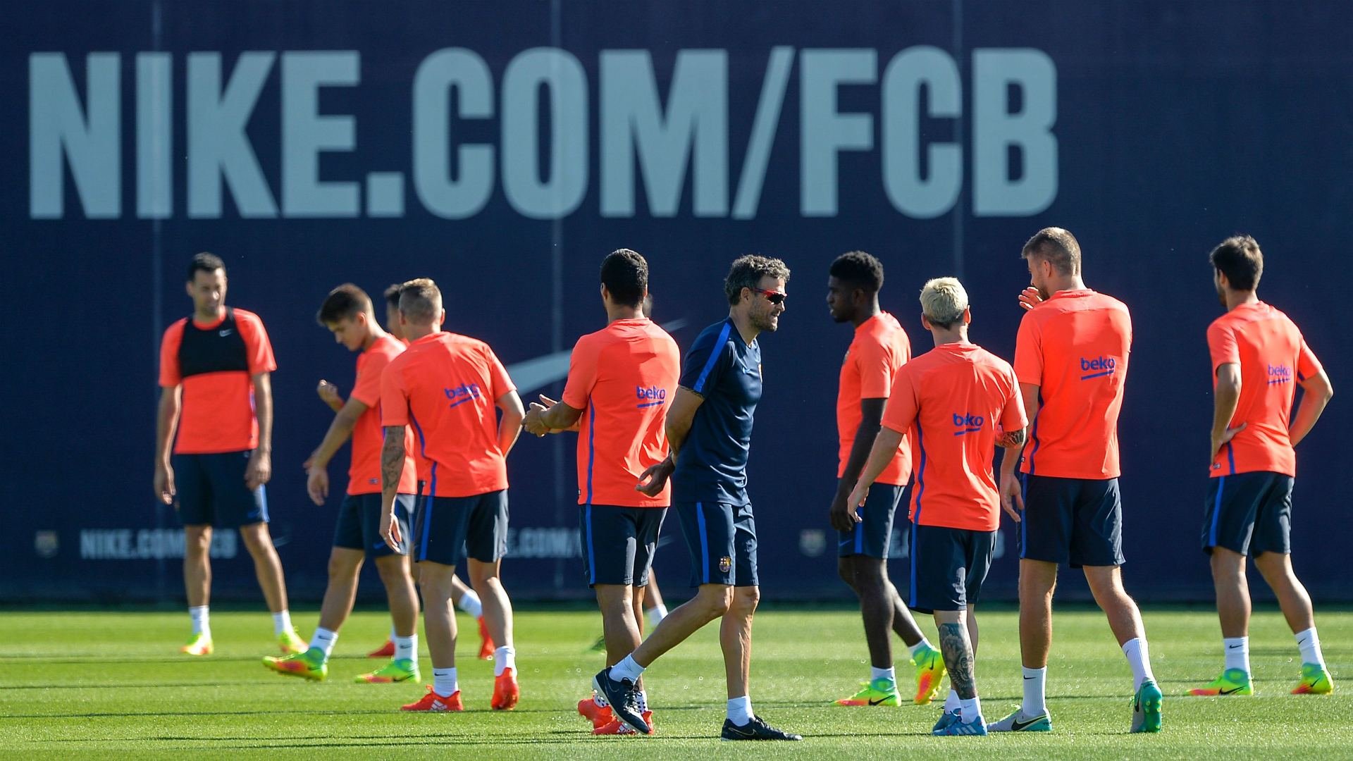 Barcelona players training