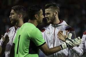 Keylor Navas, David De Gea and Sergio Ramos before the match Spain-Costa Rica
