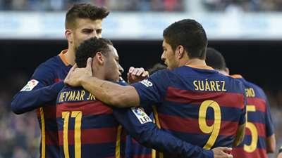 Gerrard Pique Neymar Luis Suarez Barcelona Real Sociedad La Liga 28112015