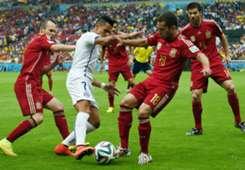 Andres Iniesta Alexis Sanchez Jordi Alba Xabi Alonso Spain Chile 2014 World Cup Group B 06182014