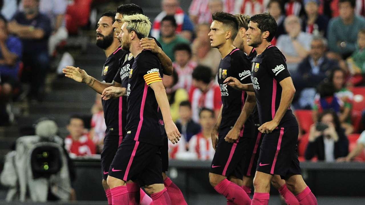 Messi Arda Turan Luis Suarez Athletic Club Barcelona LaLiga